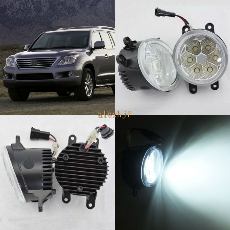 July King 18W 6500K 6LEDs LED Daytime Running Lights LED Fog Lamp case for Lexus LX570 2008-2013, over 1260LM/pc for lexus rx gyl1 ggl15 agl10 450h awd 350 awd 2008 2013 car styling led fog lights high brightness fog lamps 1set
