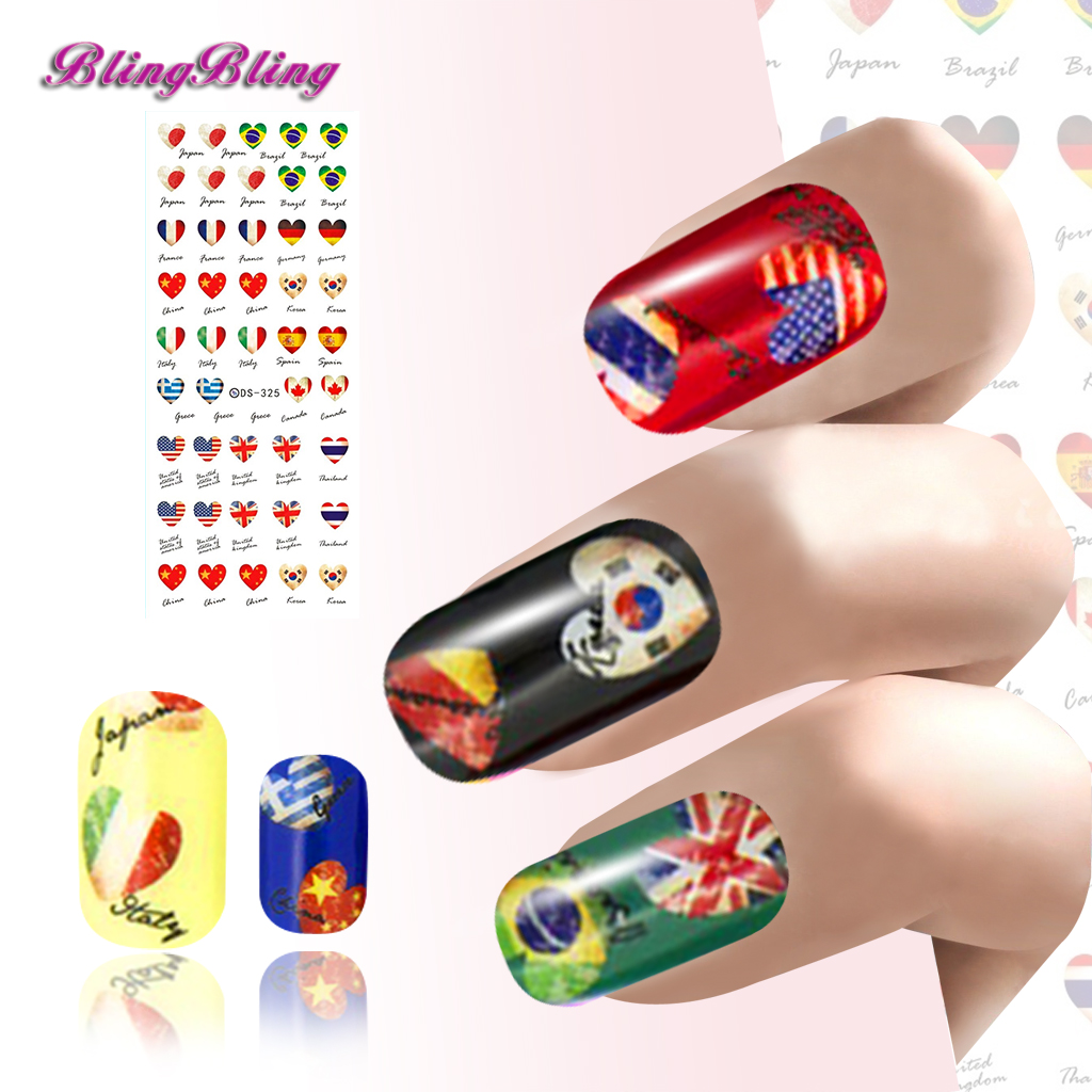 2 sheet Flag Nail Decals Water Transfer Art Sticker Country Flags ...