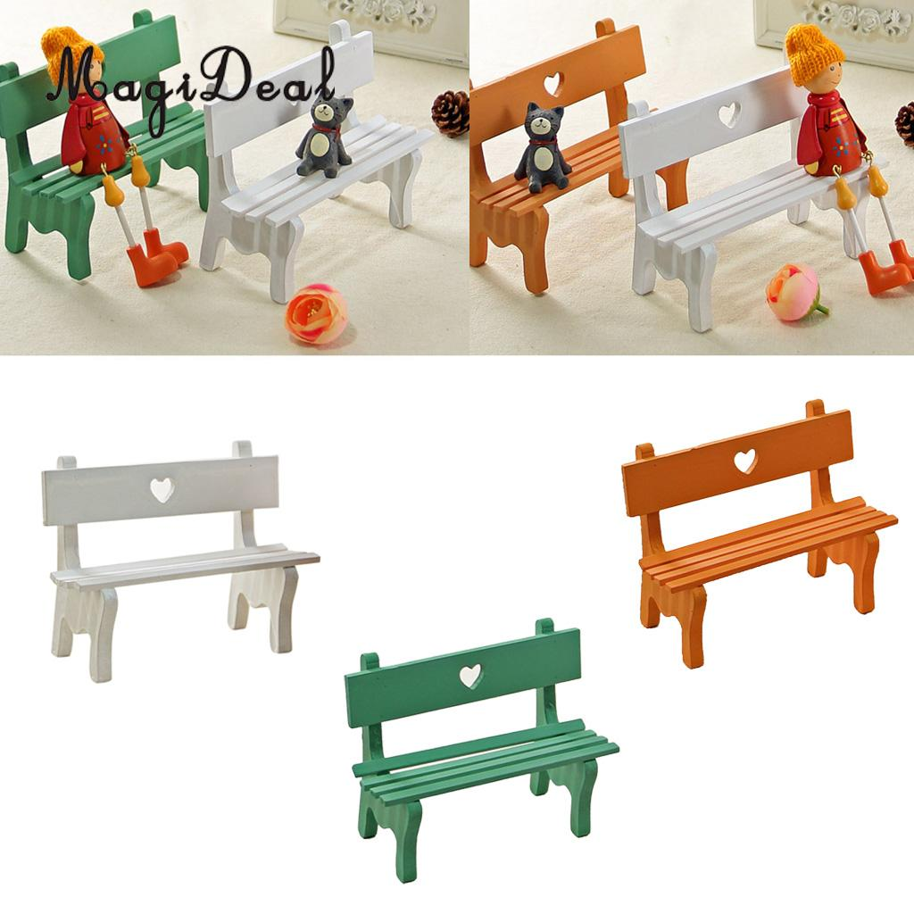 MagiDeal Mini Chair Bench Ornaments Miniatures Wooden Props DIY Kids Toys Dollhouse Furniture Miniatures Home Garden Decor ...