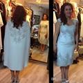 Moda de luxo Mãe da Noiva Vestidos com Xaile 2016 Mangas Curtas Apliques de Renda de Cetim Mulheres Vestido de Noite Formal Desgaste