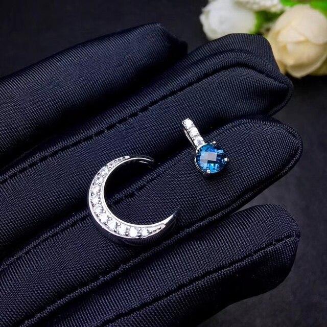 Pendentif en topaze bleue naturelle S925 argent collier en pierres précieuses naturelles à la mode grâce lune plier deux utilisations femmes fille bijoux fins