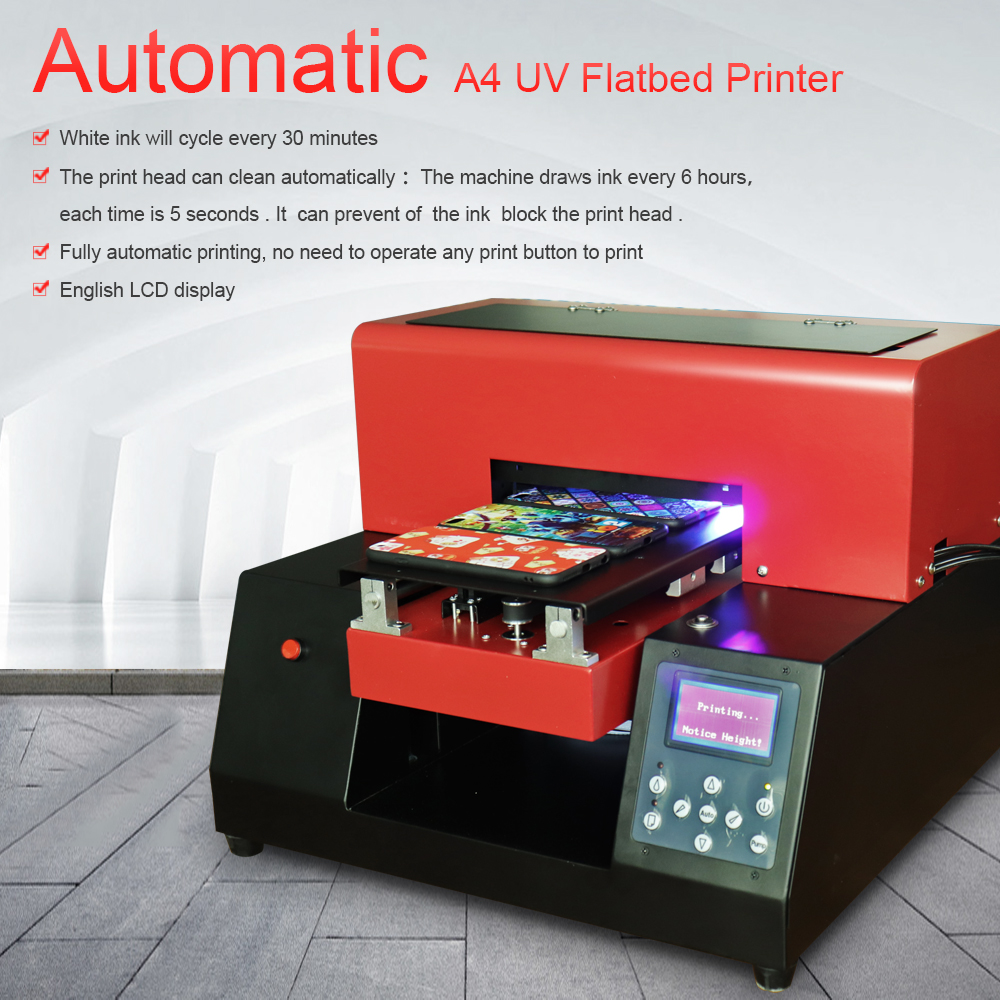 Automatic Glass Metal UV Printer A4 Size UV Flatbed Phone Case Printing Machine For Phone Case/T-Shirt/ Leather High Quality стоимость