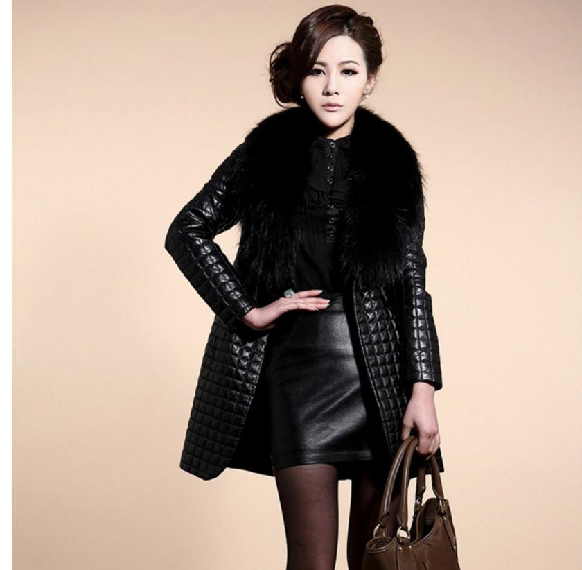 Womens Large Size Casual Pu   Leather   Overcoats Long Section Fur Collar   Leather   Jackets Female   Leather   Coats Jaqueta De Couro K492