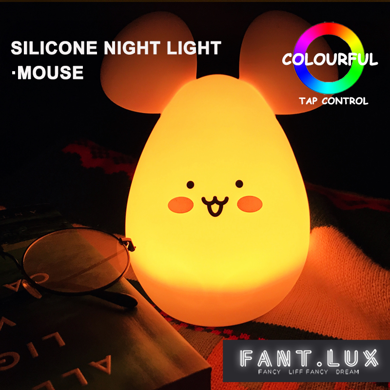 colorful silicone lamp USB rechargeable Touch sensor night ligh lovely LED mouse animal baby night lamp pet children toy lights ...