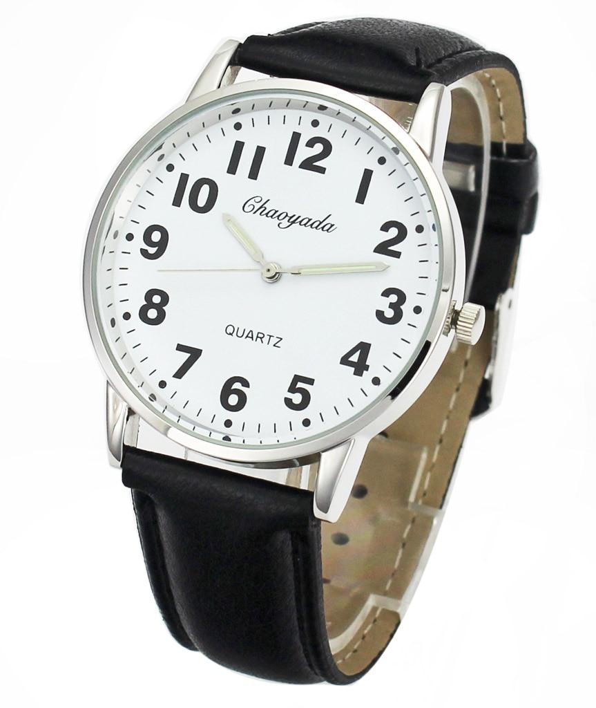 Men Women Casual Simple Black White Leather Female Male Deals Cheap Analog Quartz Wrist Watch 5