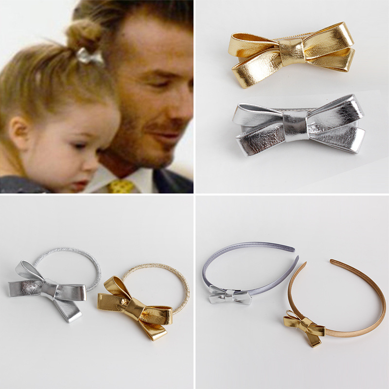 #61113 Europen and American kids/baby hair accessories PU bow hairpins elastics band hair hoop gold sliver hoop for the hair