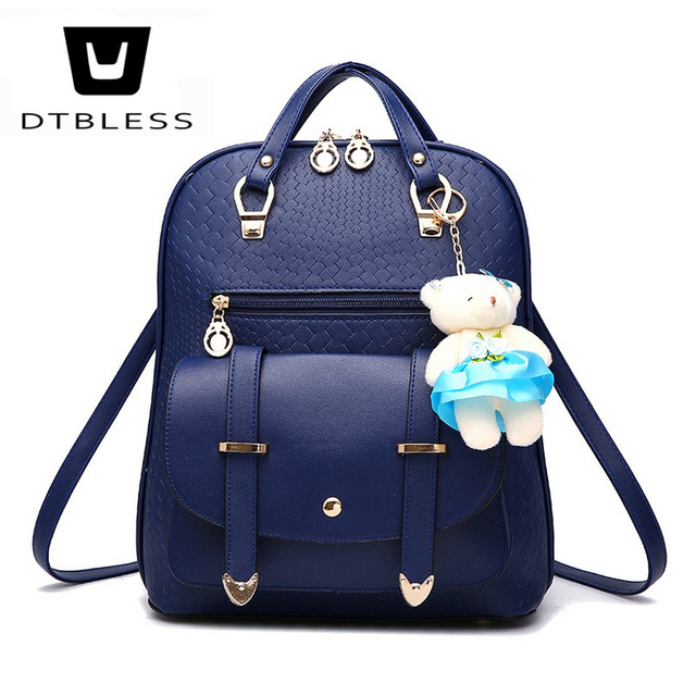 a5c43a8e67 DTBLESS 2018 mulheres Da Moda PU de couro mochilas mochilas para meninas  adolescentes do sexo feminino