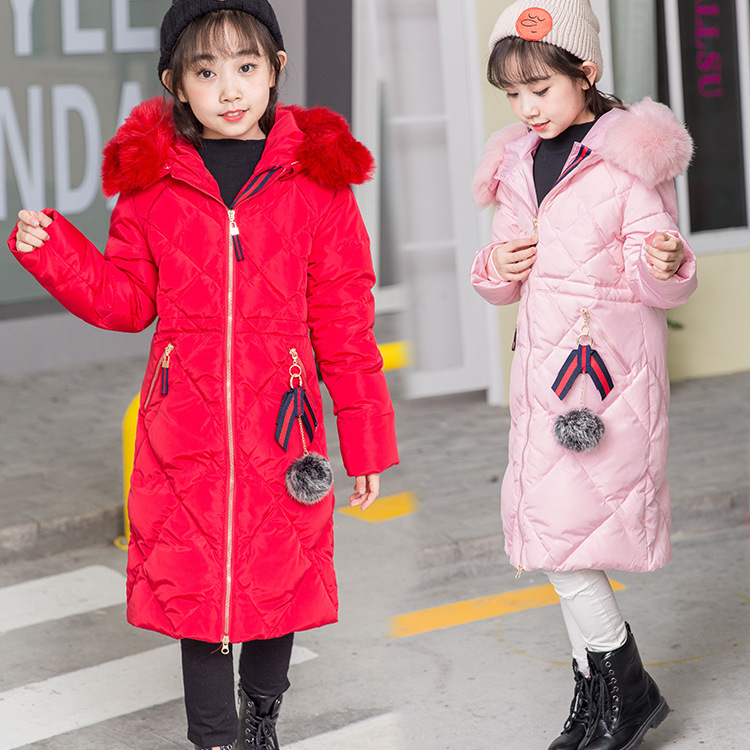 High quality winter girls Down jackets long warm big girl 2017 new thick coat outerwear hooded fur collar parka overcoat for4-14 russia winter boys girls down jacket boy girl warm thick duck down