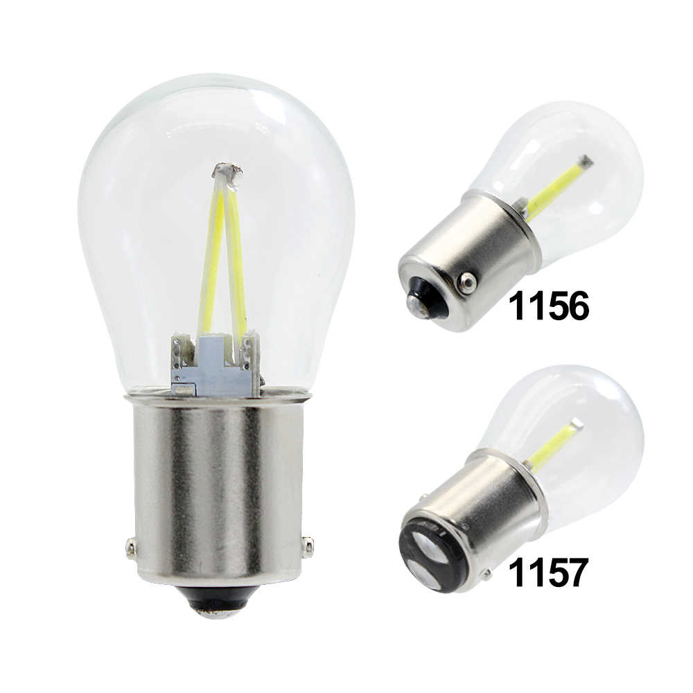 2pcs NEW 1156 1157 COB LED Filament Car Light 12V BA15S BAY15D P21W Auto Tail Bulb Brake Light White DRL Reverse Signal Lamp