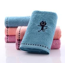 Cotton Terry Cloth Printed Cartoon Embroidery Black Cat Hand Towel Character Bathroom Face Washcloths