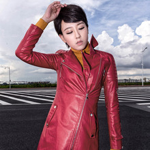 Leather Jackets Ladies Leather 2016 Winter New Arrival Women's Leather Jacket Slim Skirt Style Long Winter Coat Female Plus Size