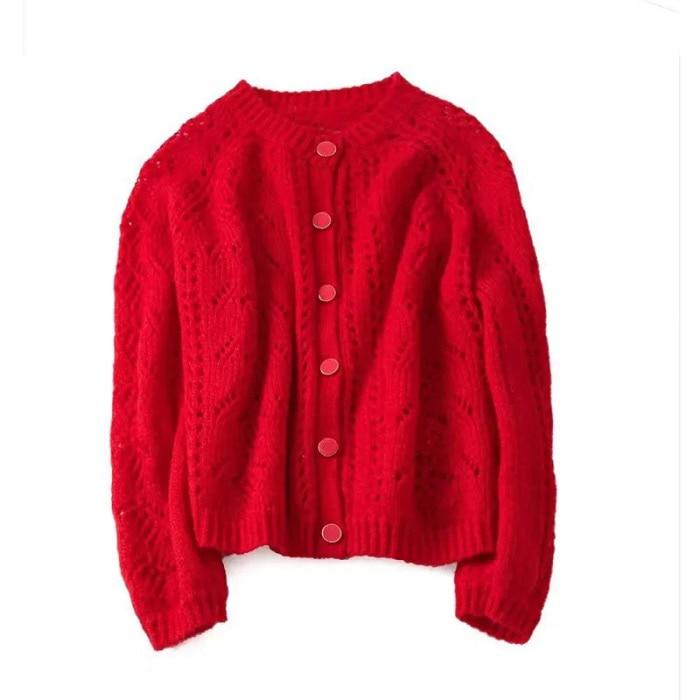 High Quality Mohair Blend Hollow Out Crochet Knitting Cardigan 2019 Women Round Neck Mohair Wool Jumper