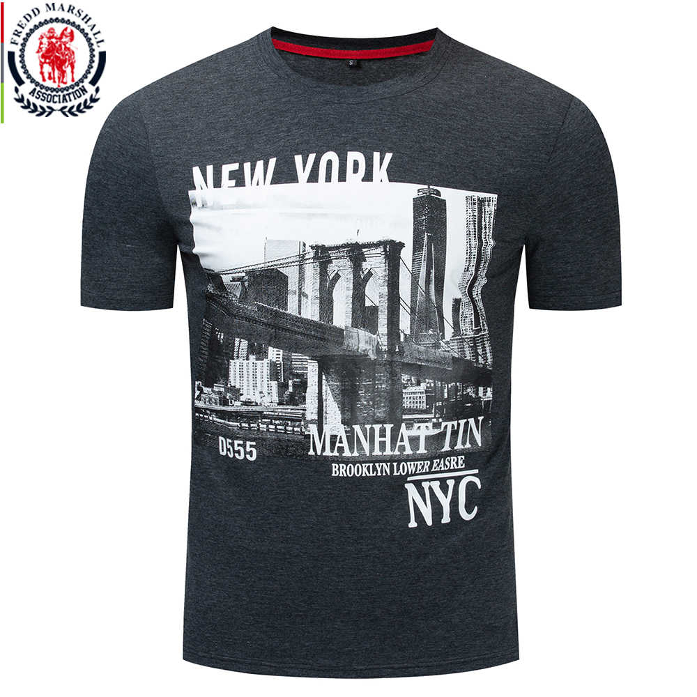 Fredd Marshall 2019 Summer New NEW YORK CITY Print T Shirt Men Short Sleeve 100% Cotton Casual O-neck T Shirt Homme Clothing 324