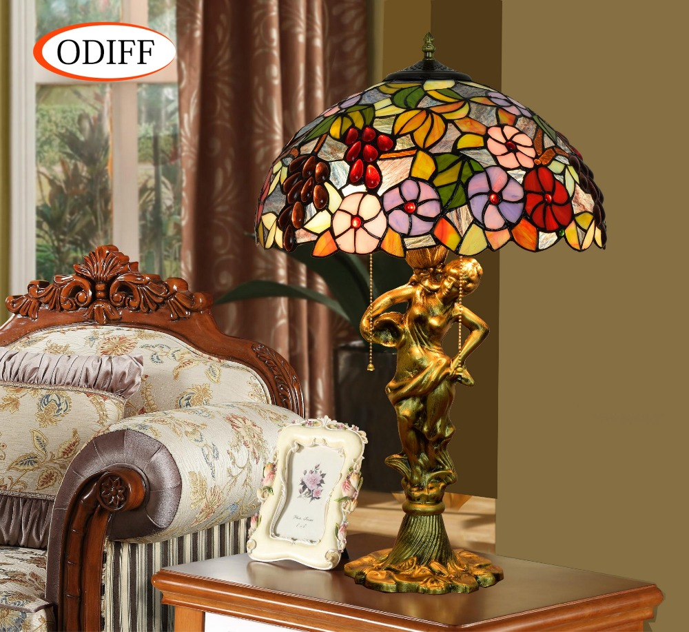 ODIFF American luxury creative garden Stained glass living roomGrape flower Table Lamps European Bar bedroom Hote art lamp E27