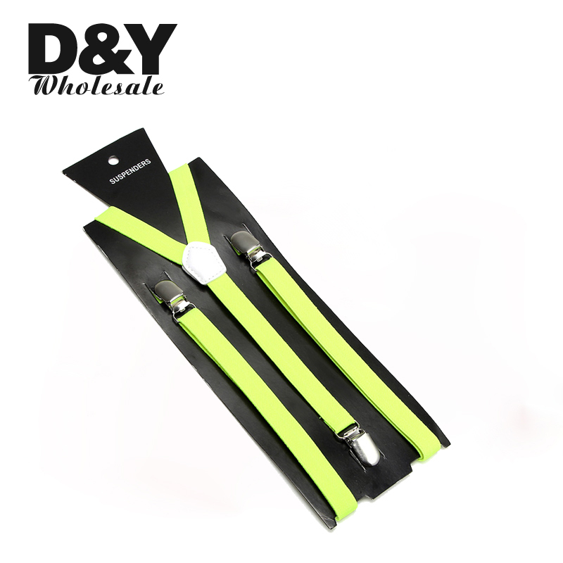 Yellow Green Slim 1.5cm Wide Suspender Men Women Unisex Clip-on Elastic Braces Slim Suspender Y-back Suspenders/gallus