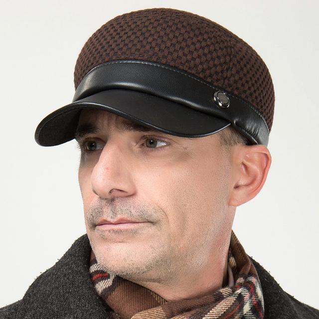Homens inverno masculina outono lã ocasional Cap jornaleiro Cabbie pico exterior chapéu hera B-0604