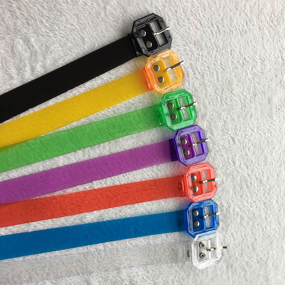 115cm Multicolor Transparent Plastic Square Buckle Waist Belt 2019 New Women Casual Skinny Clear Harajuku Jeans Dress Waistbands