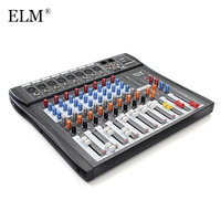 ELM Professional Digital Karaoke Audio Mixer Amplifier 8 Channel Microphone Sound Mixing Console With USB 48V Phantom Power