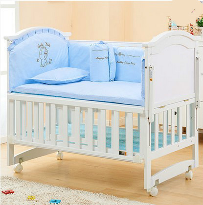 Multifunctional baby bed solid wood BB bed white  cradle bed multifunctional child bed bed
