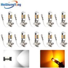 10 pcs H3 Car LED light Fog led high power lamp 5630 smd Auto car bulbs Light Source parking 12V 6000K Headlight