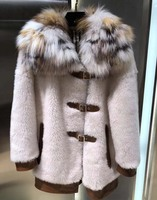 Удивительная шерсть енота collor зимнее пальто с кожаной пряжкой овечья Меховая куртка высокого качества jaqueta feminina повседневная куртка