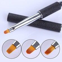 1Pc Nail Art Brush UV Gel Long/Round/Flat Head Black Painting Brush Rhinestone Handle Manicure Professional Nail Art Tool