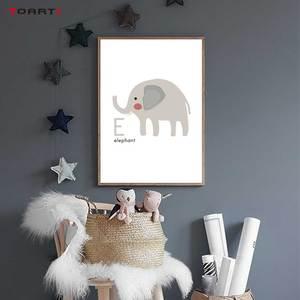 Image 4 - Animali del fumetto di Alfabeto Stampe Poster Coccodrillo Ape della Tela di Canapa Pittura Sul Muro Colorato di Arte Immagini Per Bambini Camera Da Letto Complementi Arredo Casa