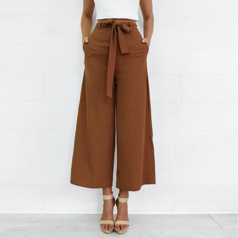 Summer Cropped   Pants   2018 Fashion Women   Pants     Wide     Leg     Pants   With Belt Ankle-length Trousers Women Loose Casual Cropped   Pants