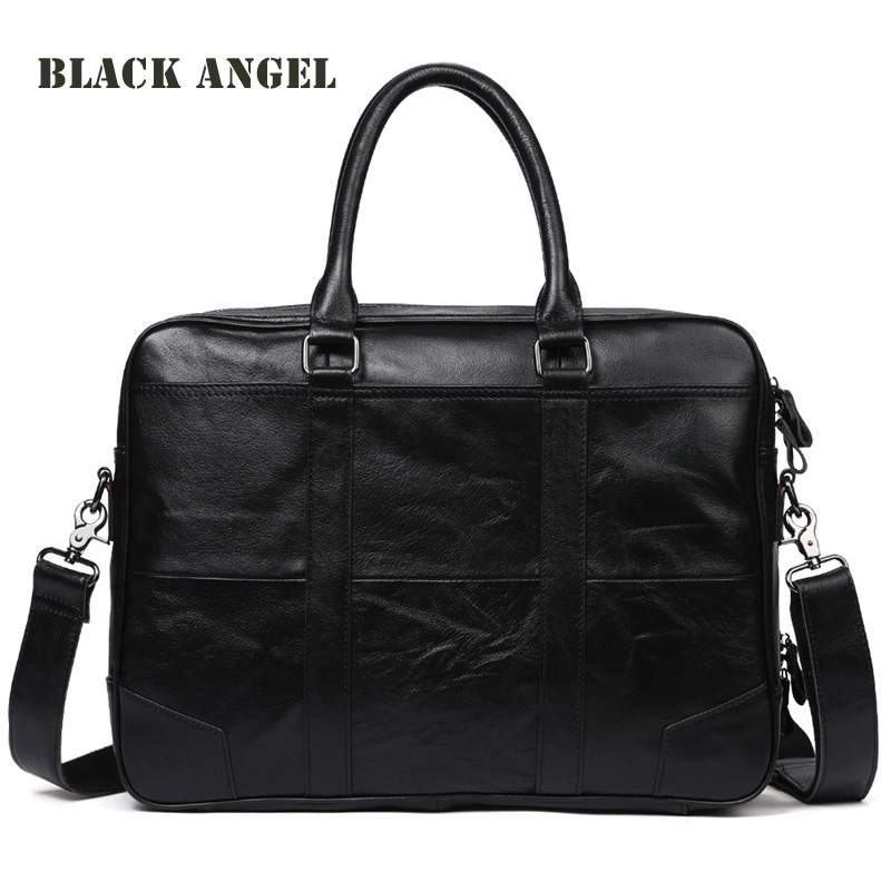 BLACK ANGEL Genuine Leather Men Bags Crossbody Bags Laptop Tote Briefcases Messenger Bag Leather Men's shoulder bag lacus jerry genuine cowhide leather men bag crossbody bags men s travel shoulder messenger bag tote laptop briefcases handbags