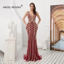 Angel Novias Long V Neck Evening Dresses 2019