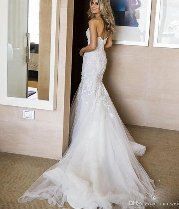 Berta 2017 Mermaid Wedding Dresses Sweetheart 3D Floral Appliques Full Lace Bridal Gowns Backless Sleeveless Dress In From Weddings