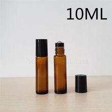 Rollo ámbar de 10ml en botella de perfume, botella de rodillo de aceite esencial ámbar de 10 CC, contenedor de rodillos de vidrio pequeño 10 piezas