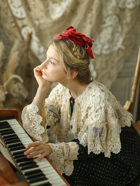 LYNETTE'S CHINOISERIE Autumn Winter Original Design Women Mori Girls Victoria Vintage Cape Collar Polka Dots Knitted Dresses