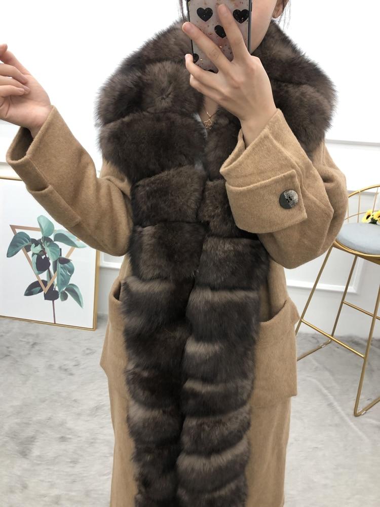 ผู้หญิง cardigans plus เสื้อขนสัตว์ยาวยาวขนสุนัขจิ้งจอกจริงที่ถอดออกได้เกณฑ์หญิงเสื้อกันหนาวฤดูใบไม้ผลิฤดูใบไม้ร่วงฤดูหนาว outerwear-ใน ขนสัตว์จริง จาก เสื้อผ้าสตรี บน   2