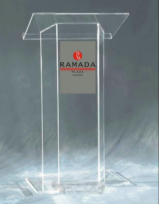 Free Shipping Modern Acrylic Podium With Clear Surface Tubes, Custom Podium Church Size