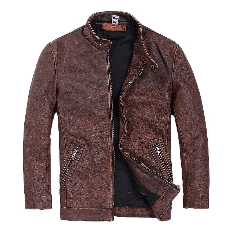 Jacket Brown XXXXXL Vintage Cowhide Genuine Casual Autumn Thick American Coat Plus-Size