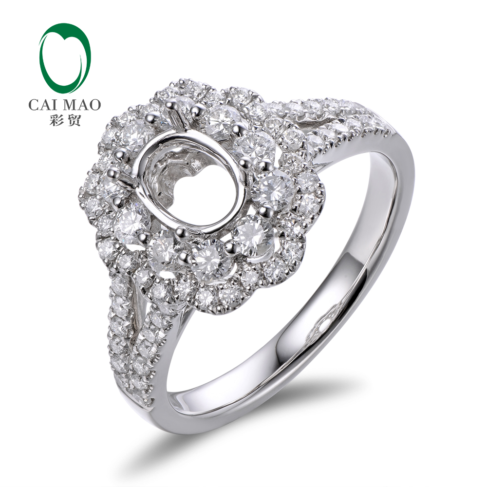 Caimao 14K White Gold Oval 5x7mm 0.93ct Natural Diamonds Engagement - Perhiasan bagus - Foto 1