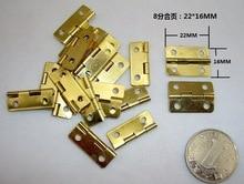 1000Pcs Mini Cabinet Drawer Butt Hinge copper gold small hinge 4 small hole 22 16mm copper