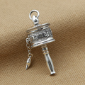 S925 sterling silver jewelry men's vintage Thai ladies pendant Tibetan prayer wheels Pendant Tibetan OM Mani Padme Hum Pendant
