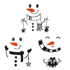 Image 4 - Наклейка «Снеговик» передняя дверь на холодильник Рождественский Декор виниловая наклейка на стену, Рождественская Наклейка на стену милый снеговик для украшения праздника