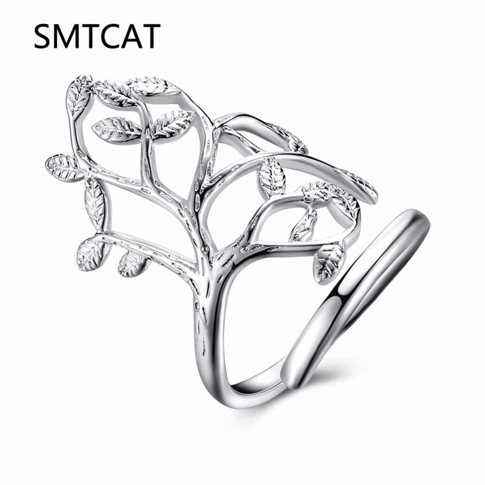 2018 Fashion Jewelry 925 true Sterling Silver Life Tree Charm Open Ring For Women Gift Adjustable Dancing Wedding Accessories