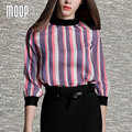 American style multi color stripe print women tops chiffon blouse shirts blusas y camisas blusa camisetas y tops renda  LT356