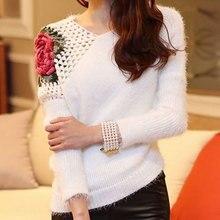 Новинка, длинный шерстяной свитер с круглым вырезом, ручная вязка, формальная аппликация, длинный тонкий свитер с принтом, женский свитер с вырезом, розовый свитер