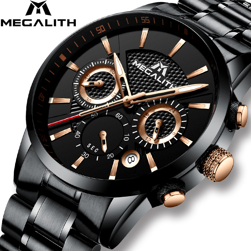 MEGALITH Mens Watches Luxury Waterproof Chronograph Military Sport Watch For Men Date Analogue Male Wrist Watches Relogio Clock