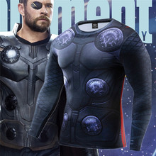 3D Anime Tshirts Marvel Thor Odinson Avengers 4 Compression Shirt Fitness T-shirt Men Long Sleeves Clothing Cosplay T-shirt Mens цена
