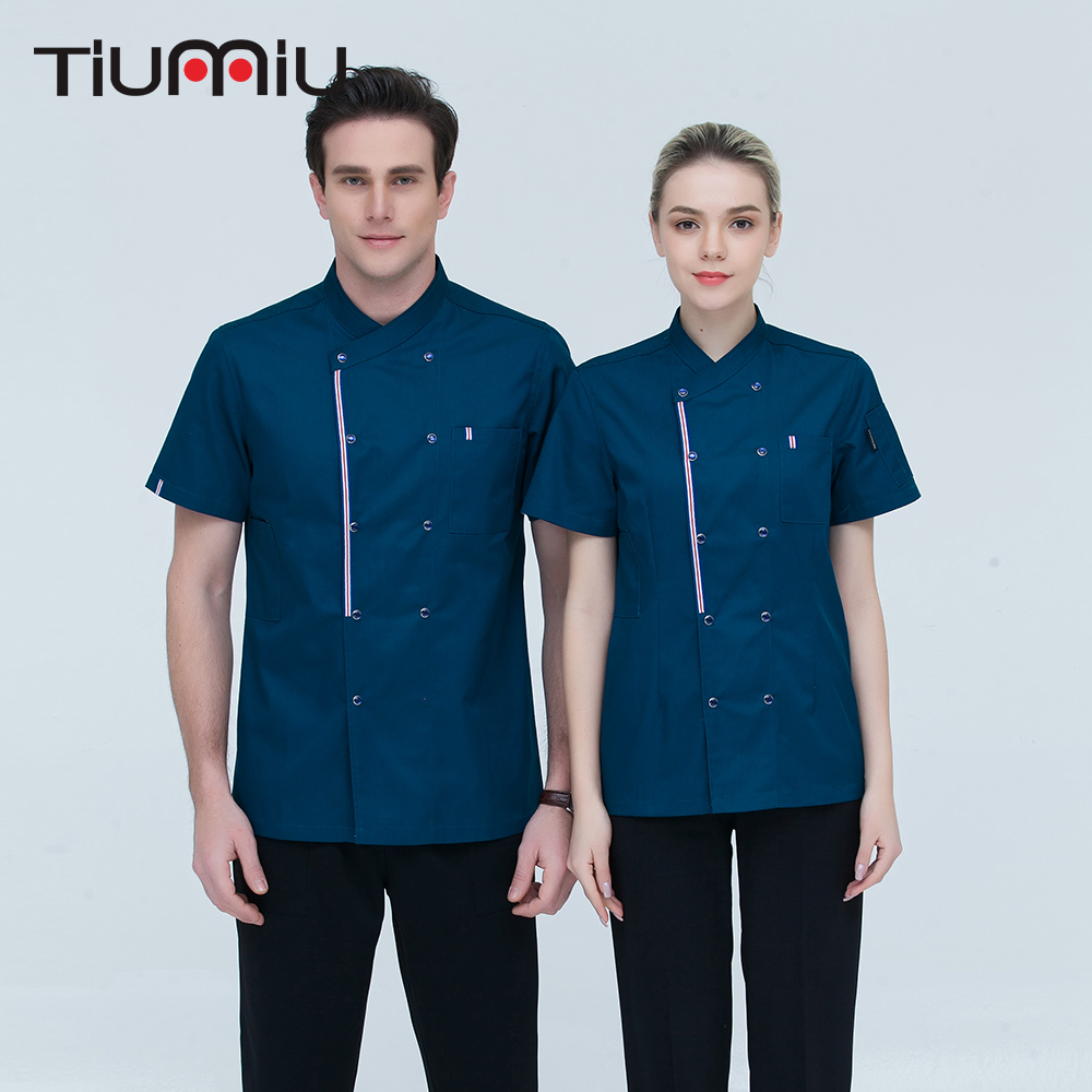4 Colors M-4XL Wholesale Women Men Short-sleeve Double Breasted Kitchen Work Cloth Chef Jacket Catering Restaurant Baker Uniform