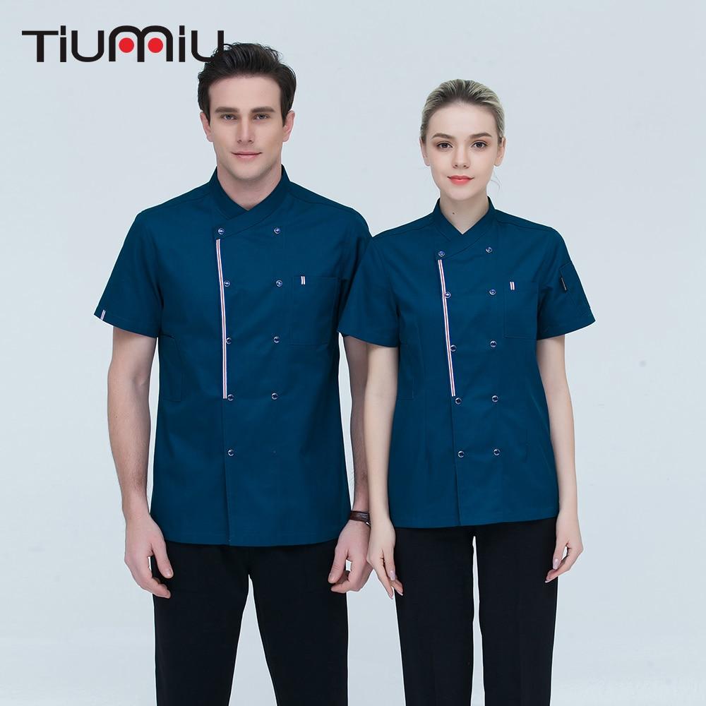 4 Colors M-4XL Wholesale Women Men Short-sleeve Double Breasted Kitchen Work Cloth Chef Jacket Catering Restaurant Baker Uniform