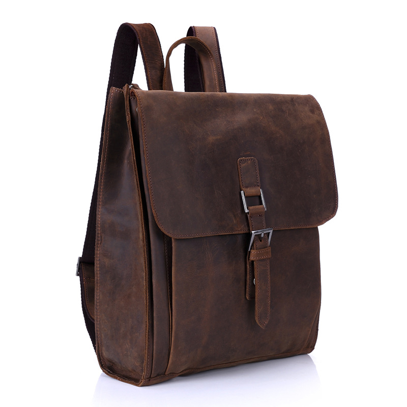 Cow Leather Backpack Men's Casual Leather Large Capacity Travel Backpack Retro Casual Student Bag large capacity casual man backpack