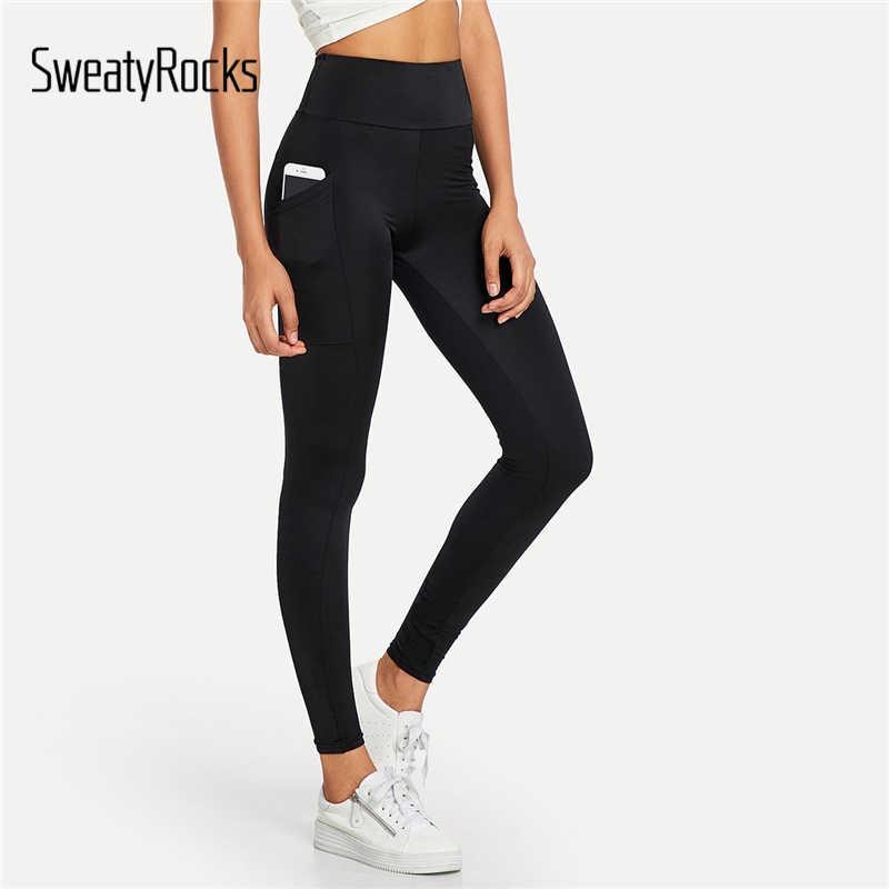 0798895adc23 SweatyRocks Black Elastic Waist Pocket Leggings High Waist Workout Womens  Fashion Leggings 2018 Autumn Activewear Fitness