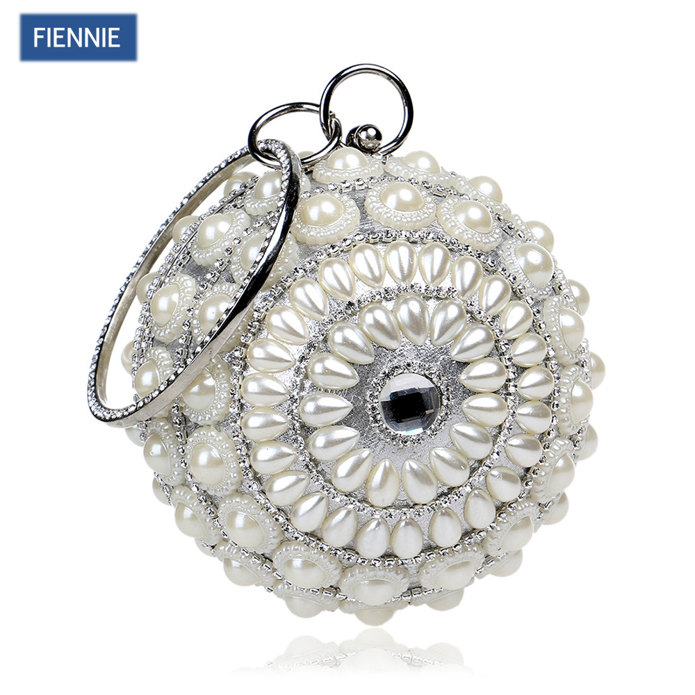 FIENNIE Exquisite New Bag Beaded Pearl Shoulder Bag Lady Night Club with Tote Hand Bag For Evening/ Wedding/ Dress/ Party tentop a two sided beaded fashion exquisite beaded evening bag noble elegant pearl clutches bags shoulder party bags white pearl